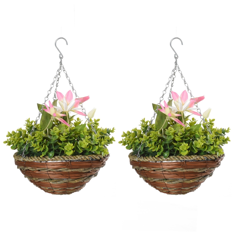 Outsunny 2 PCs Artificial Clematis Flower Hanging Planter Basket for Indoor Outdoor Décor