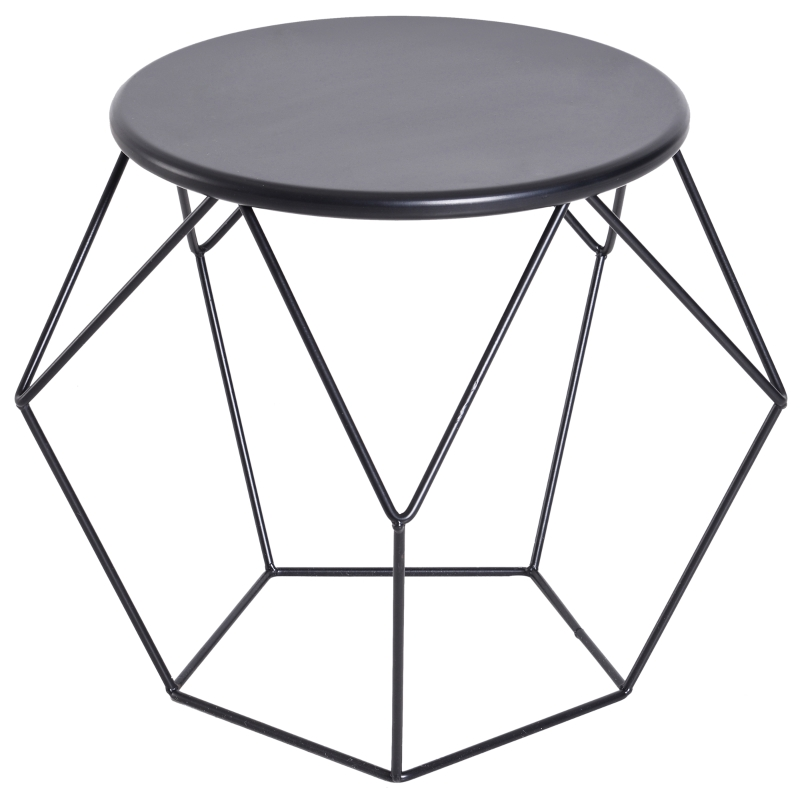 HOMCOM Steel Minimalist Pentagon Shaped Round Coffee Table Black
