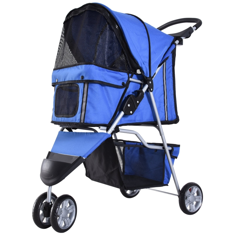 PawHut Dogs Oxford Cloth Three Wheel Pram Blue - Suitable for Small Pets