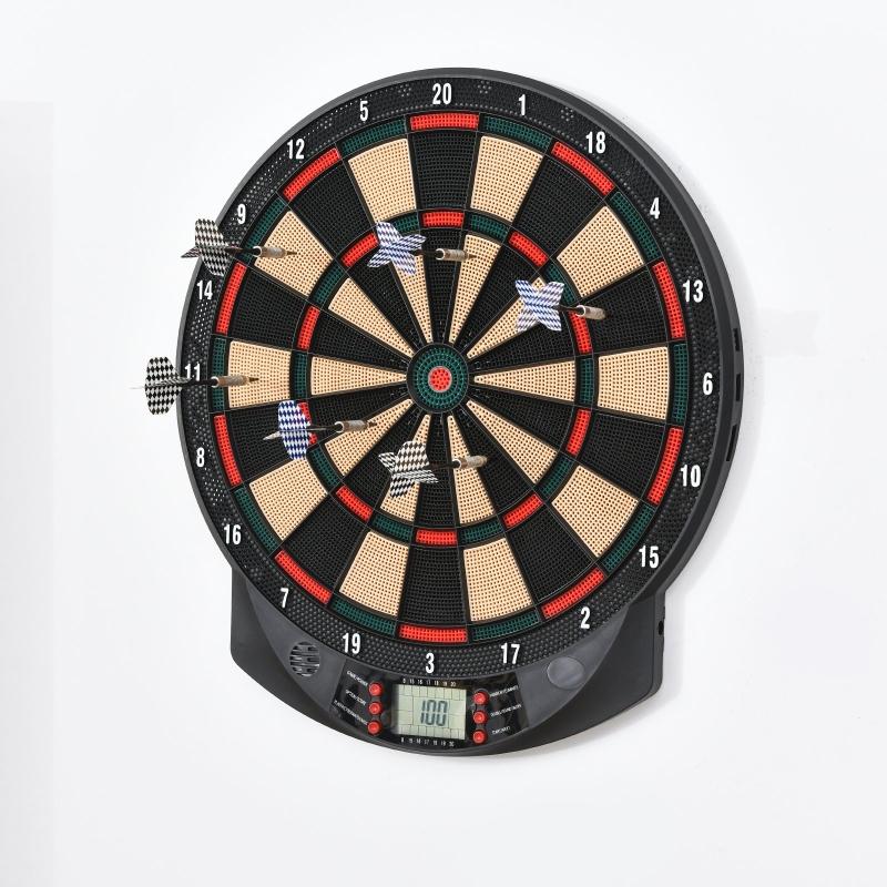 HOMCOM Plastic Electronic Dartboard w/ 6 Darts Black