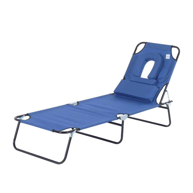 Outsunny Adjustable Sun Lounger W/Pillow-Blue