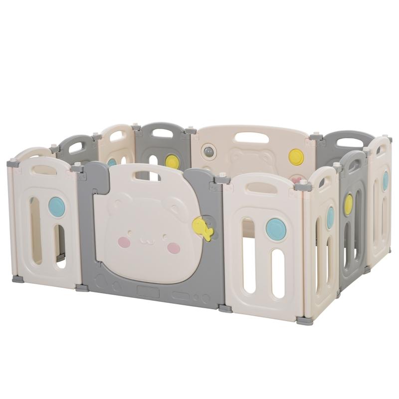 HOMCOM 12 PCs Foldable Children Playpen Safety Gate Kids Activity Center Fence w/ Toys