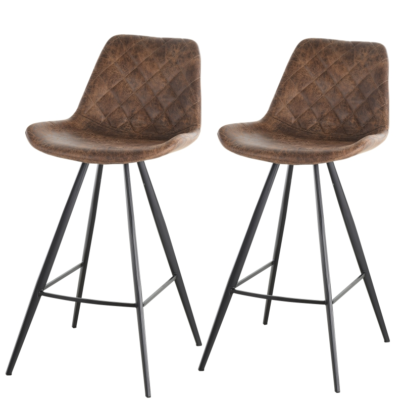 HOMCOM PU Leather Upholstered Twin-Pair Bar Stools Brown