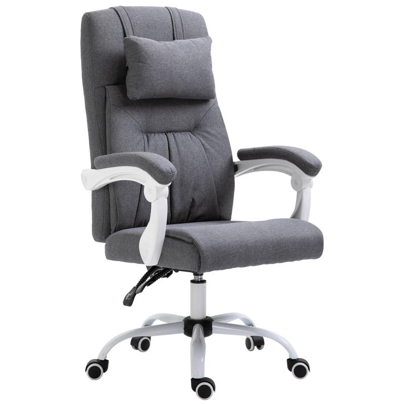 Vinsetto Office Chair w/ Massage Pillow Executive Reclining Ergonomic USB Charger Adjustable Height 360° Swivel Base Grey