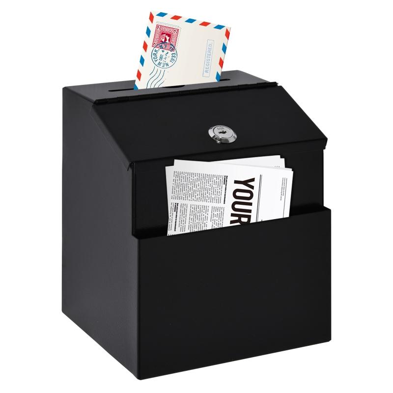 Ideeënbus donatiebox voor wandmontage gemaakt van staal brievenbus met slot zwart