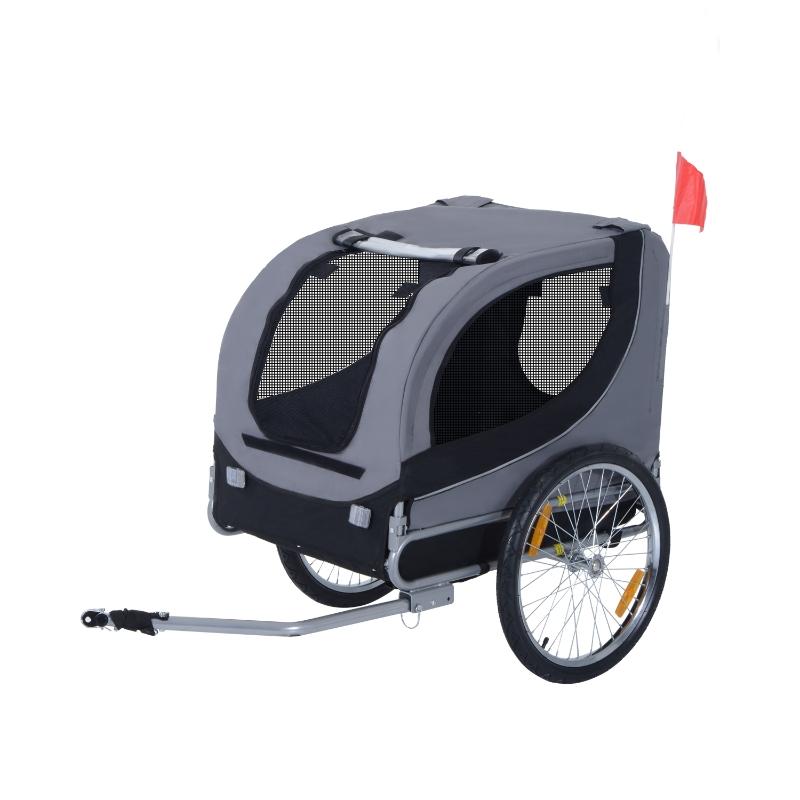 Pawhut Steel Pet Bicycle Trailer 2 Wheel Jogger Carrier Grey