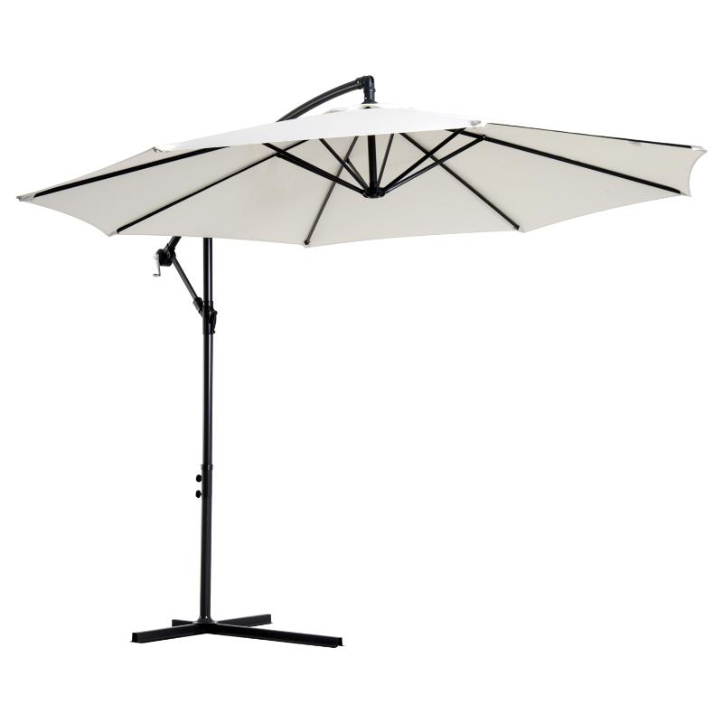 Parasol afneembare zwevende parasol zwengelparasol met handkruk crème