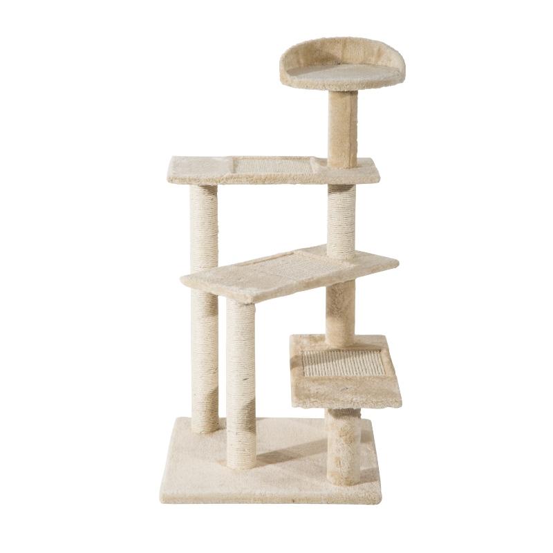 PawHut Cat Tree Scratching Post, 50x50x100 cm-Beige