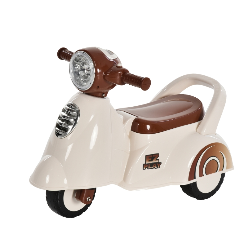 HOMCOM Toddlers Musical Plastic Push Tricycle White/Brown