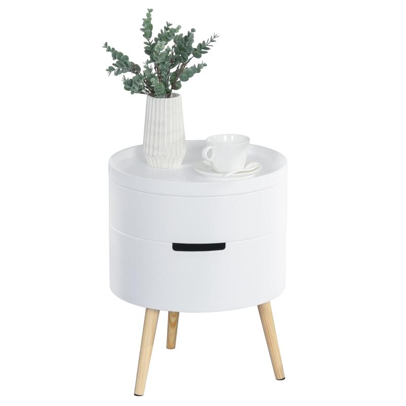 HOMCOM Beistelltisch Sofatisch mit 2 Stauräume Couchtisch frei kombinierbar Wohnzimmer Holz Weiß Ø38 x 48,3 cm