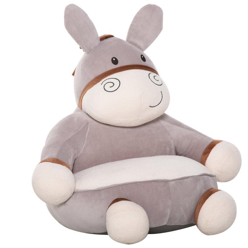 HOMCOM Animal Kids Sofa Chair Cartoon Cute Donkey with Armrest for 18-36 months Grey
