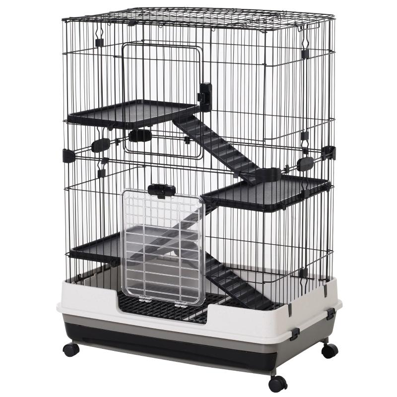 Kooi voor kleine huisdieren konijnenhok met 4 wielen kooi, 3 openingen 2 platforms metaal zwart