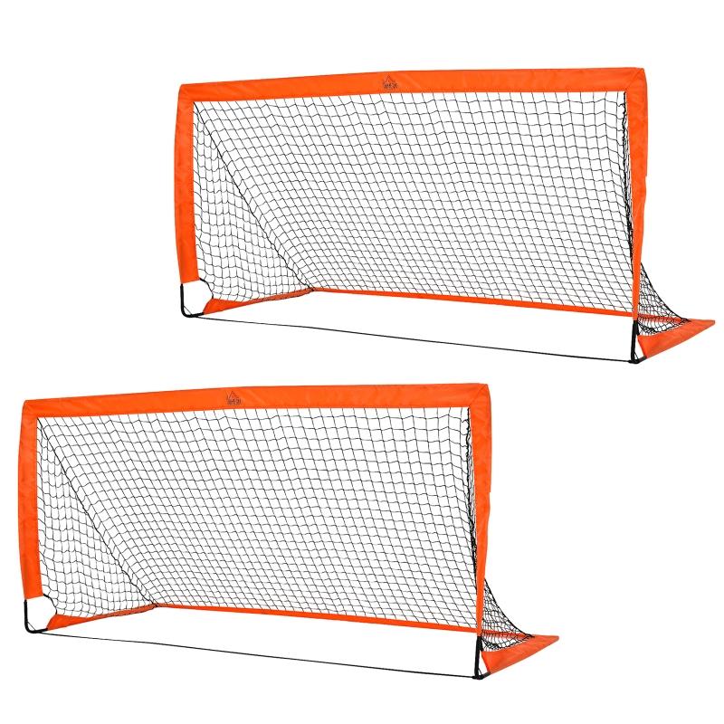 HOMCOM Tetoron Mesh Outdoor Folding Football Goal Orange