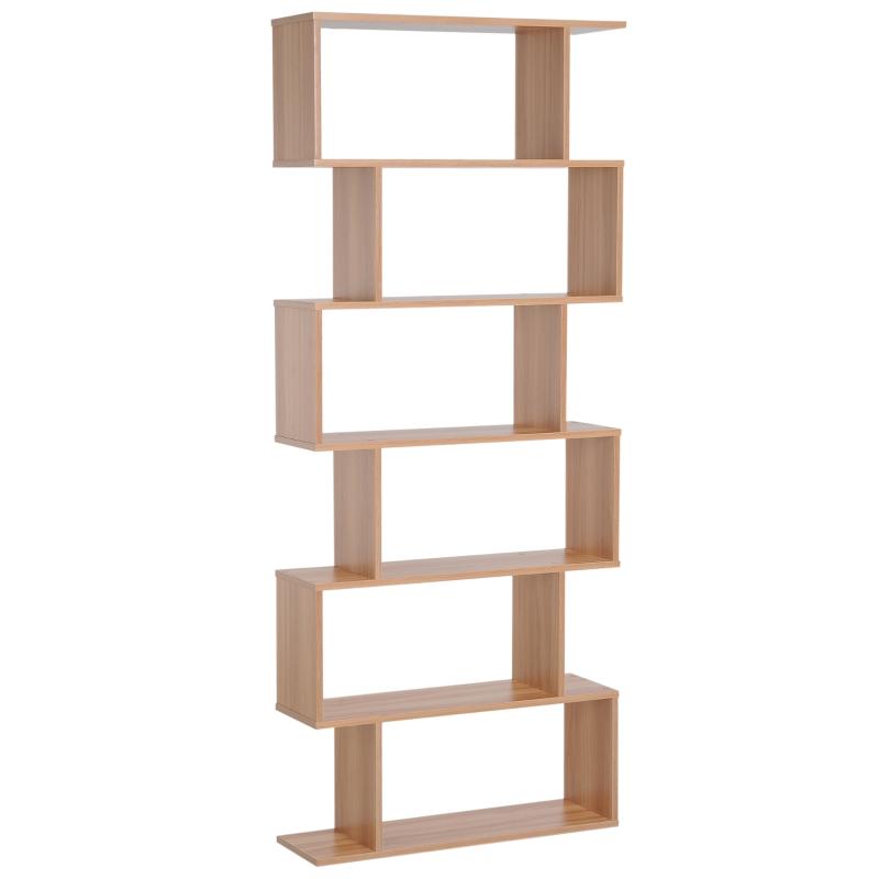 HOMCOM 6 Tier Wooden Modern S-Shaped Shelf Unit Storage Display