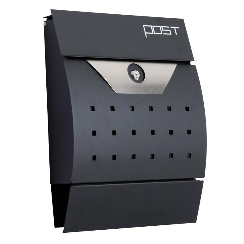 HOMCOM Lockable Mail Box, Wall-mounted, Steel-Black