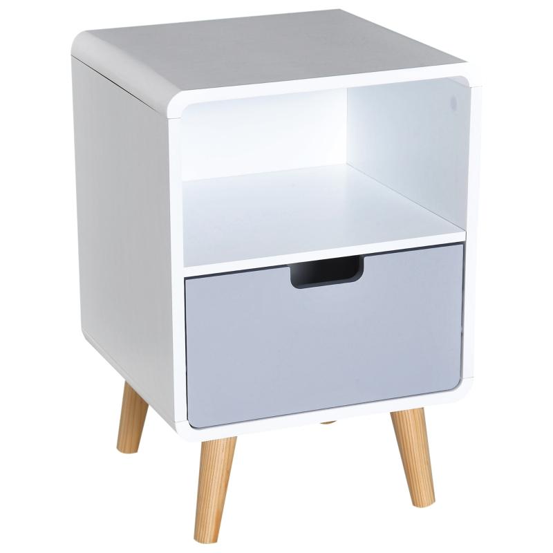 HOMCOM Scandinavian Nordic Style Bedside Table End Nightstand Lamp Desk With Drawer Bedroom