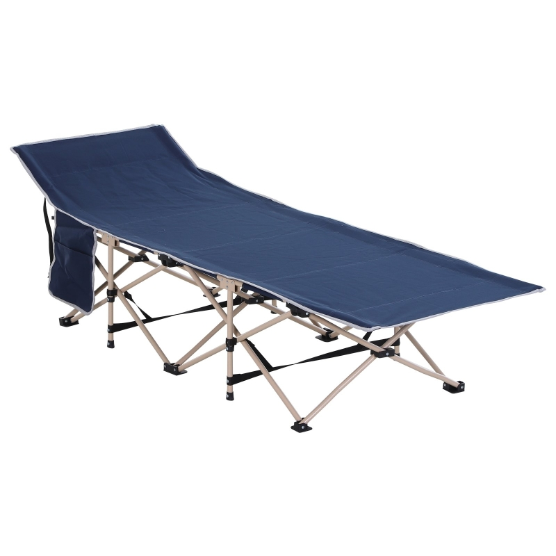 Outsunny Oxford Cloth Folding Single Camping Bed Lounger Blue