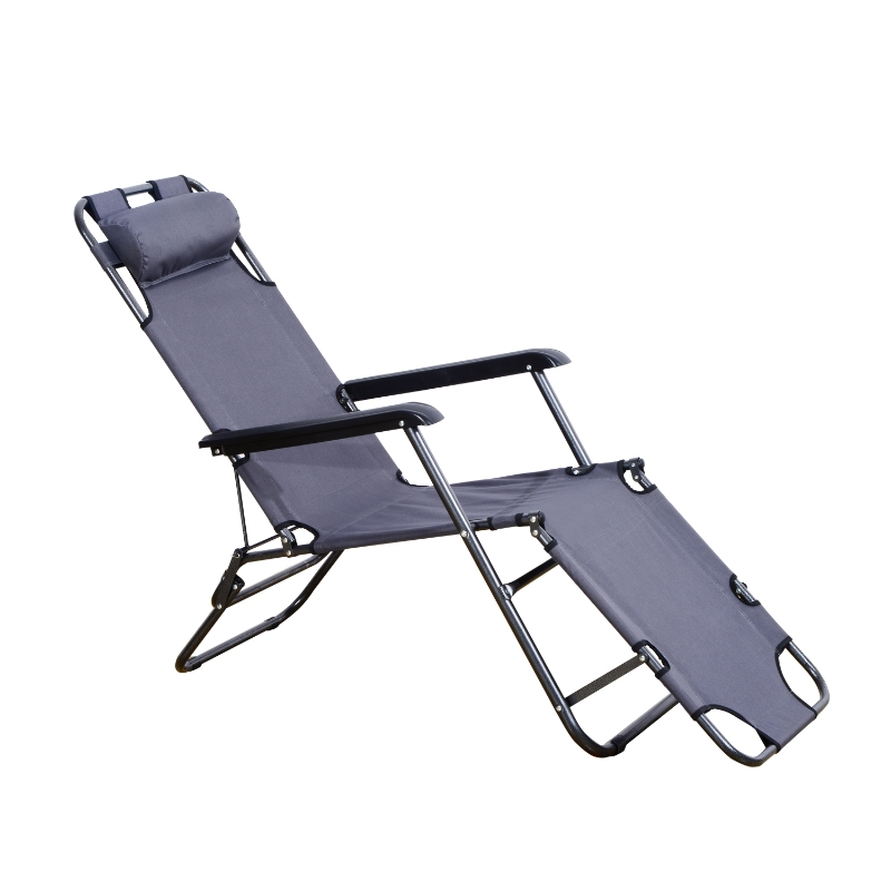 Outsunny 2 in 1 Folding Recline Lounger-Grey