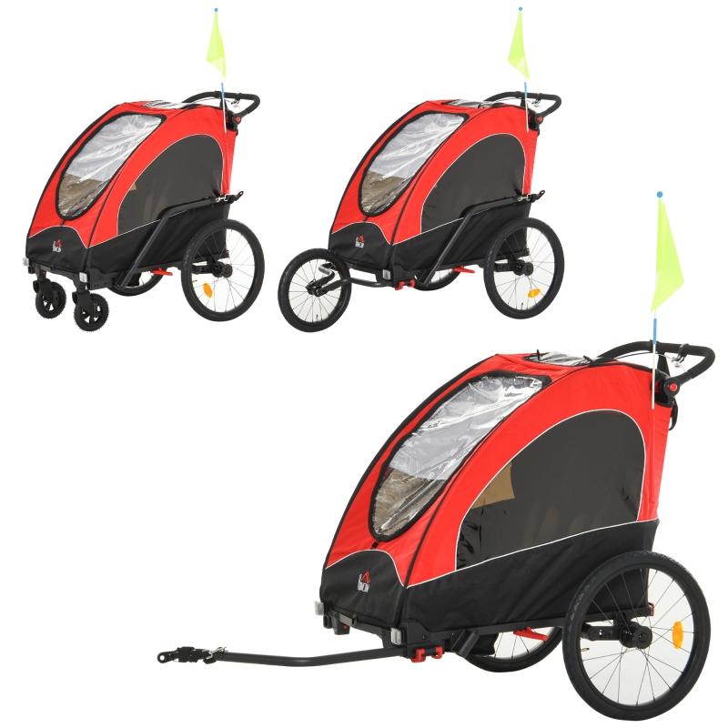 HOMCOM Oxford Cloth 3 in 1 Child Bike Trailer Black