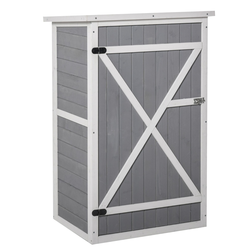 Outsunny Fir Wood Garden Shed Outdoor Tool Storage w/ 2 Shelves Latched Doors 115x75cm