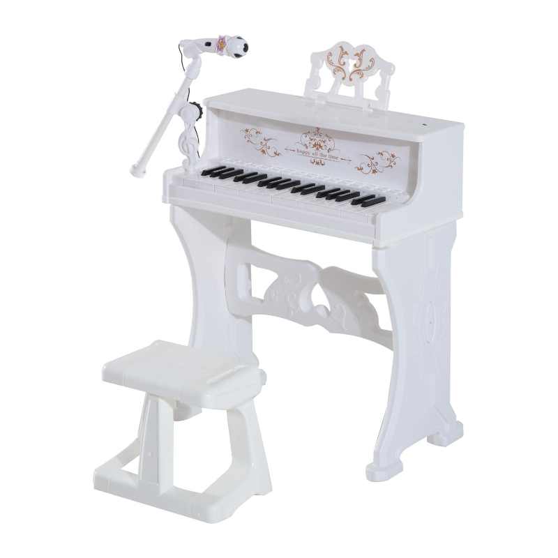 HOMCOM Mini Electronic  Piano W/Microphone and Stool-White