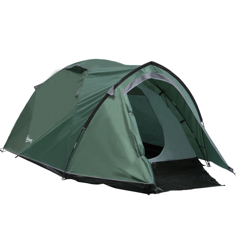 Outsunny Dome Tent for 3-4 Person Family Tent with Large Windows Waterproof Green