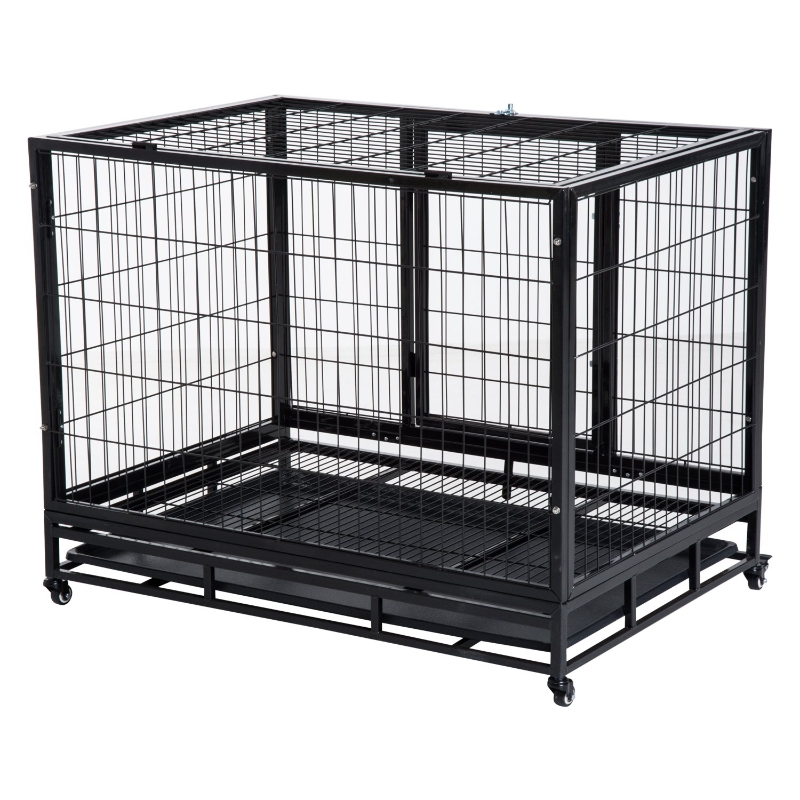 Pawhut Metal Kennel Cage W/Wheels and Crate Tray, 95Lx61.5Wx68.5H cm
