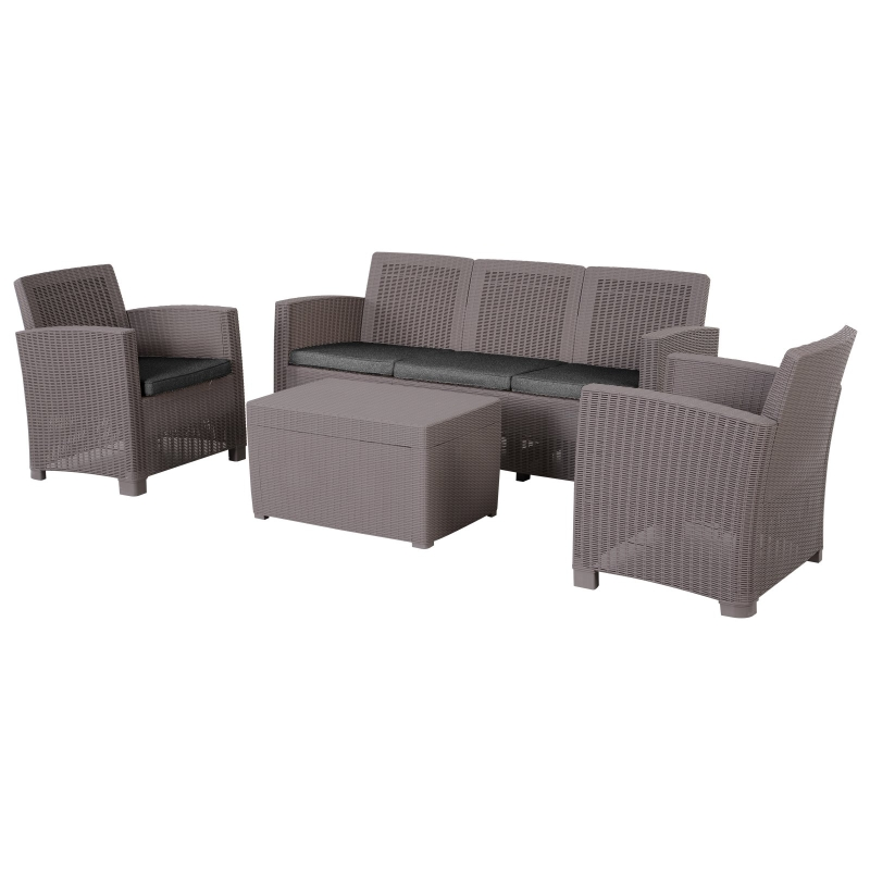 Outsunny 5-Seater Outdoor Garden PP Rattan Effect Furniture Set w/ Cushion Grey