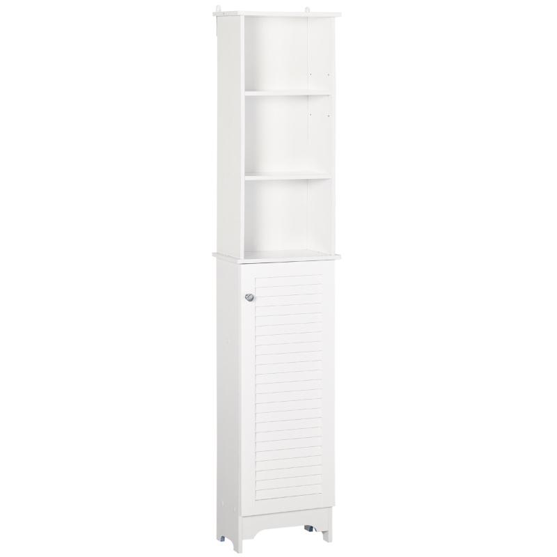 HOMCOM MDF 6-Tier Tall Bathroom Storage Cabinet White