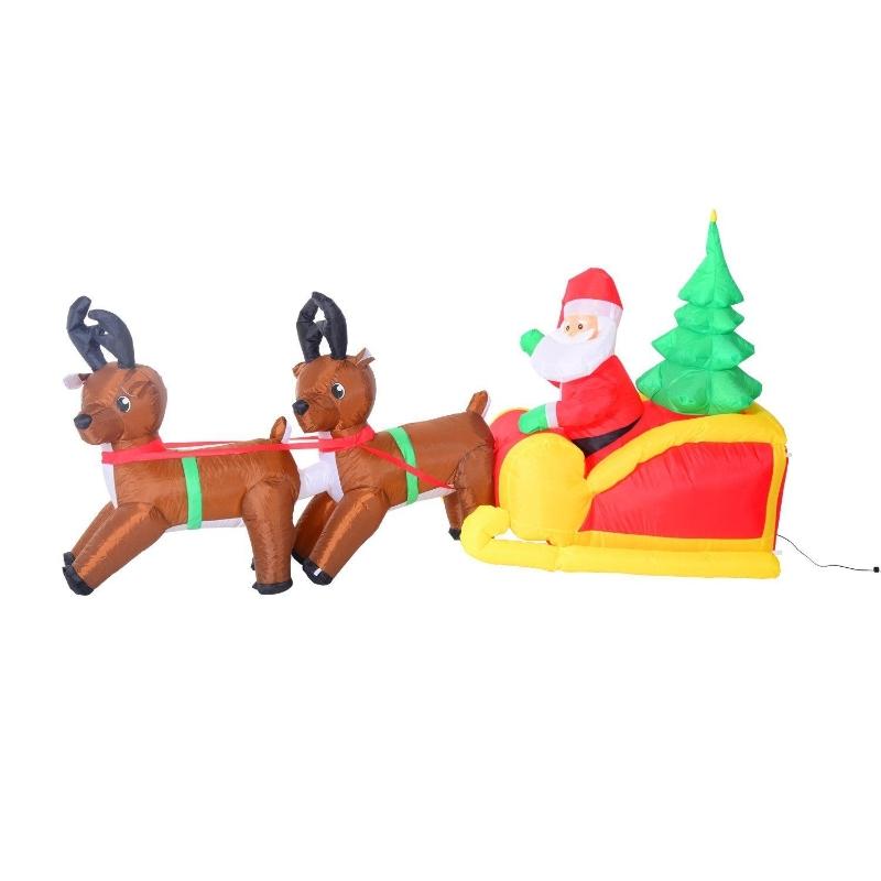 Opblaasbare kerstman kerstdecoratie ledsneeuwpop verlicht met 2 rendieren