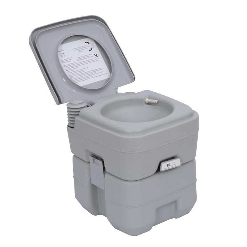 HOMCOM Portable Toilet-Grey