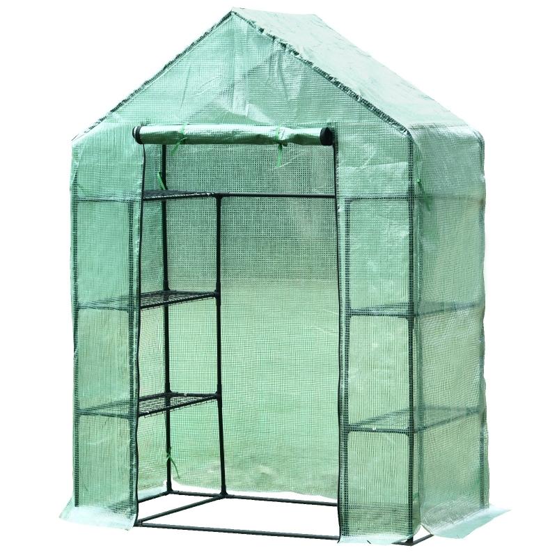 Outsunny Greenhouse W/ Shelves, 143x73x95 cm-Dark Green