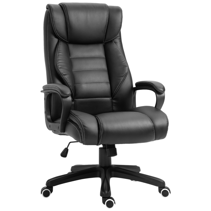 Vinsetto High Back Executive Office Chair PU Leather Upholstered Ergonomic Massage Chair Black