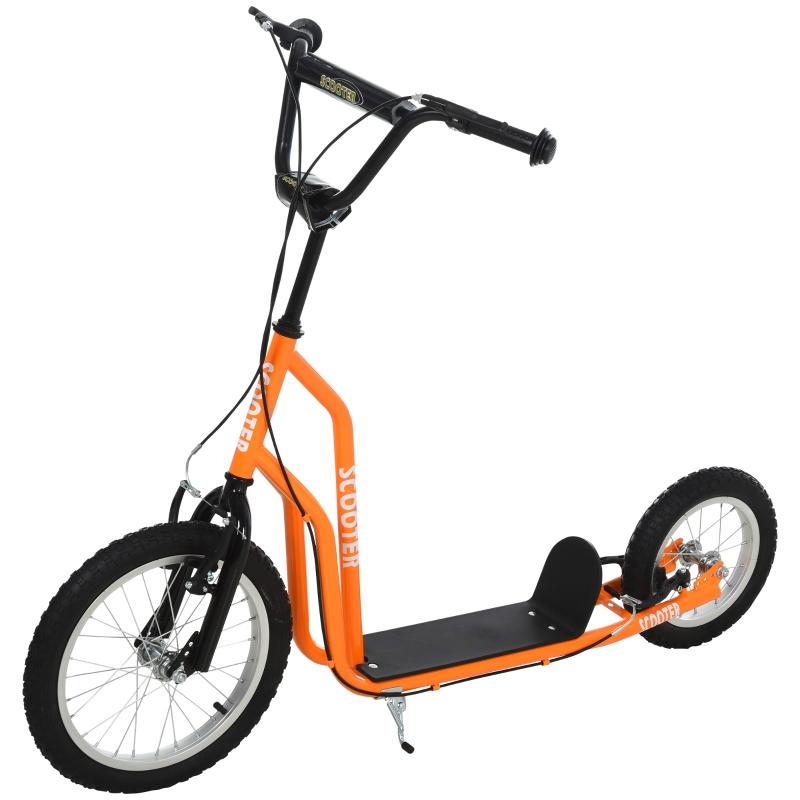 HOMCOM step kinderscooter scooter luchtbanden stadsscooter verstelbaar oranje