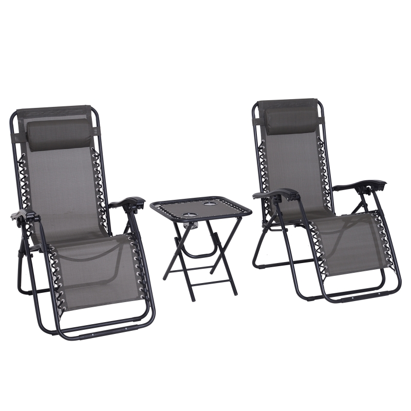 Outsunny 3pcs Folding Zero Gravity Chairs Sun Lounger Table Set W/ Cup Holders