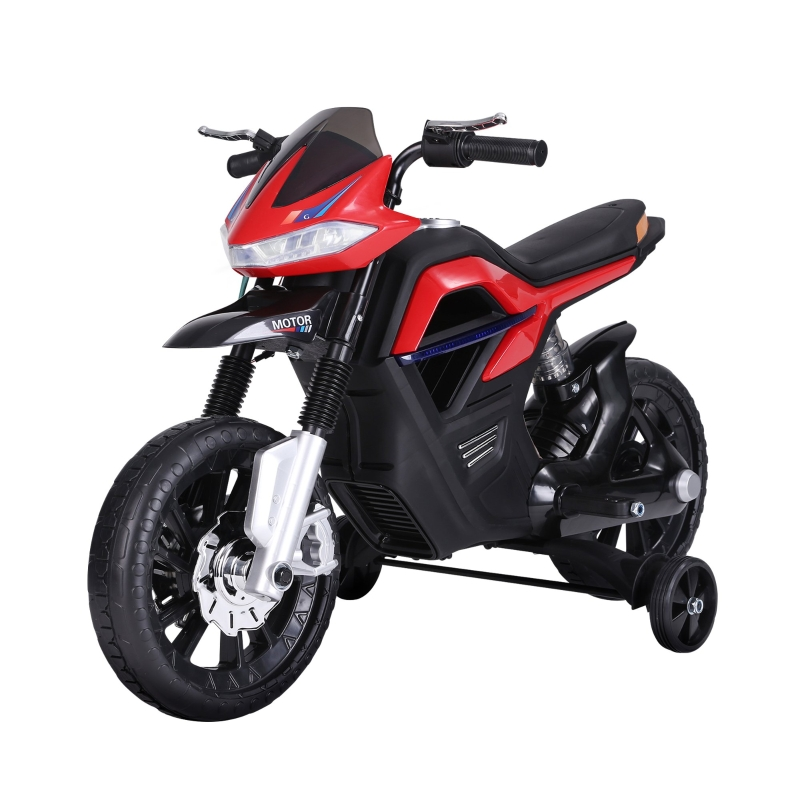 HOMCOM  Ride On Kids Electric Motorbike Scooter 6V Battery Powered w/ Brake Reverse Lights and Music Red