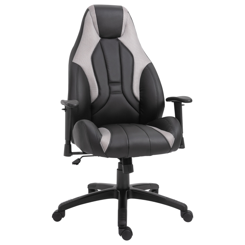Vinsetto PU Leather Upholstered Adjustable-Sit Home Office Chair White/Black