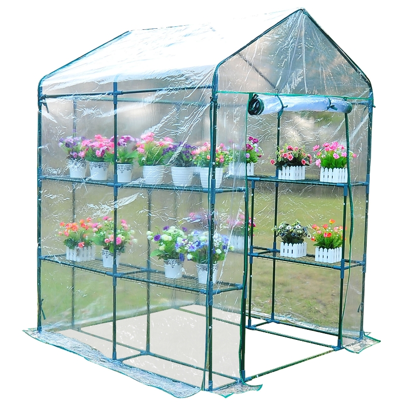 Outsunny 1.43Lx1.43Wx1.95H m Steel Frame Greenhouse, 2 Shelves-Deep Green