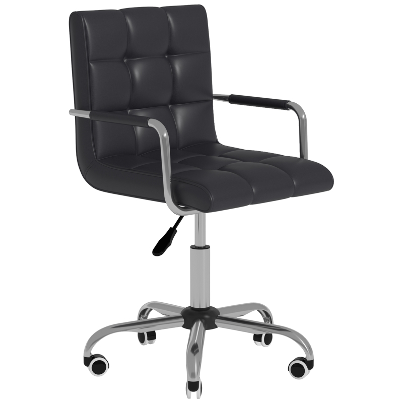 HOMCOM PU Leather Computer Chair, Adjustable Height-Black