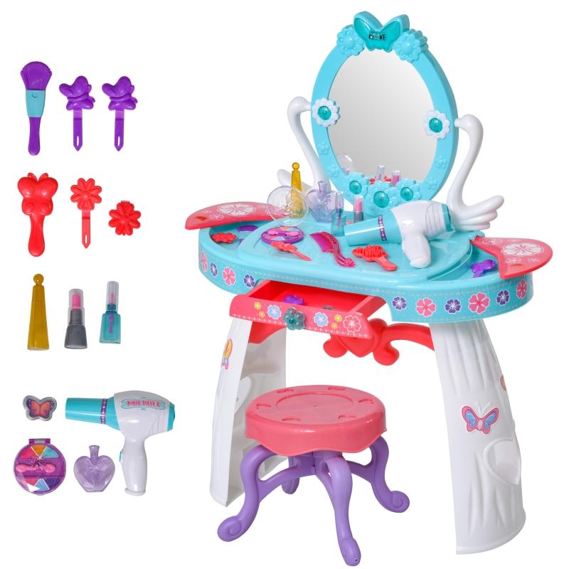 HOMCOM Kids Pretend Play Dressing Set w/ Table Stool Accessories Lights Music Storage