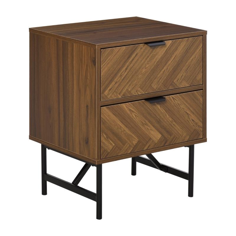 HOMCOM Side Cabinet Home Organizer with 2 Drawer Unit Herringbone Pattern, Walnut Tone