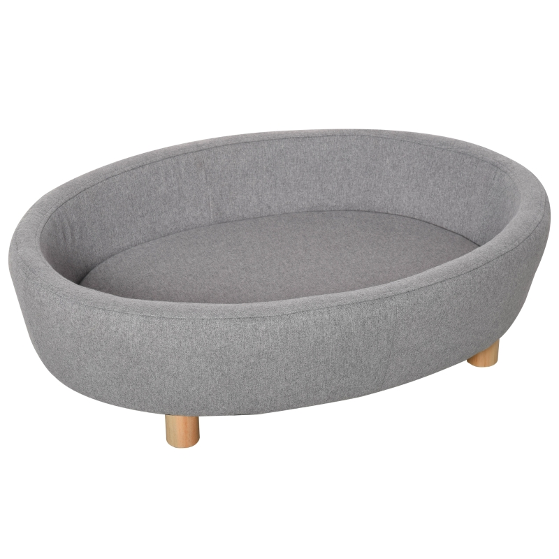 PawHut Pet Sofa Soft Couch Sponge Cushioned Bed Wooden legs, Light Grey