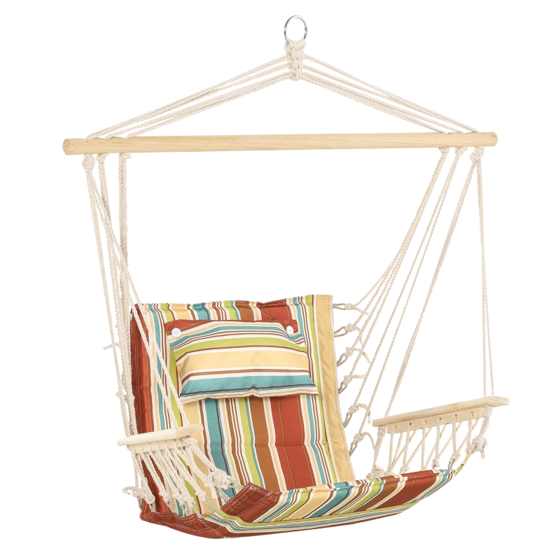 Outsunny Hanging Hammock Chair Thick Rope Frame Safe Wide Seat Indoor Outdoor