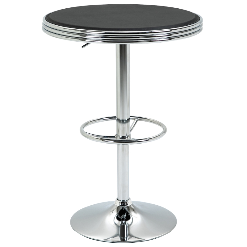 HOMCOM Round Height Adjustable Pub Table  bar Table Faux Leather Tabletop and Footrest