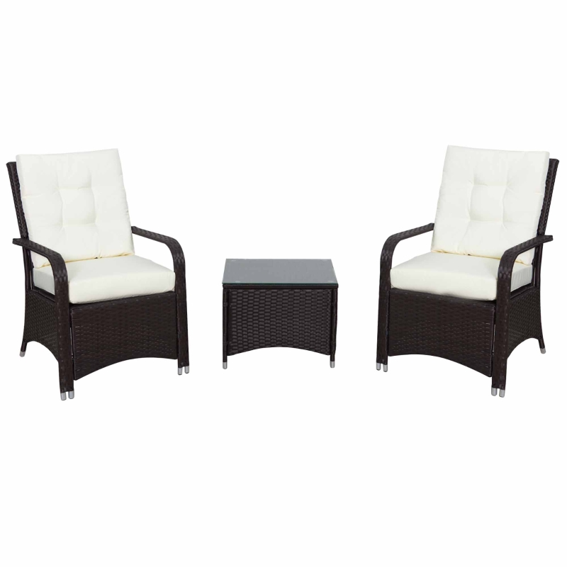 Outsunny 3PC Rattan Table Chair Bistro Garden Furniture Set Wicker Table Outdoor Patio