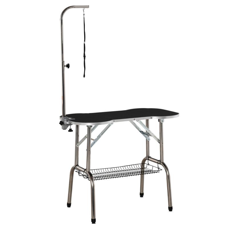 PawHut Pet Foldable Grooming Table w/ Adjustable Arm Non-Slip Tabletop Leash