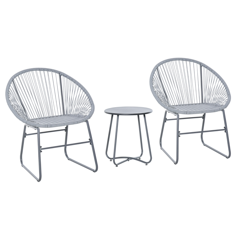 Outsunny 3 Pieces Outdoor Rattan Bistro Set 2 Chairs 1 Coffee Table Garden Deck Grey