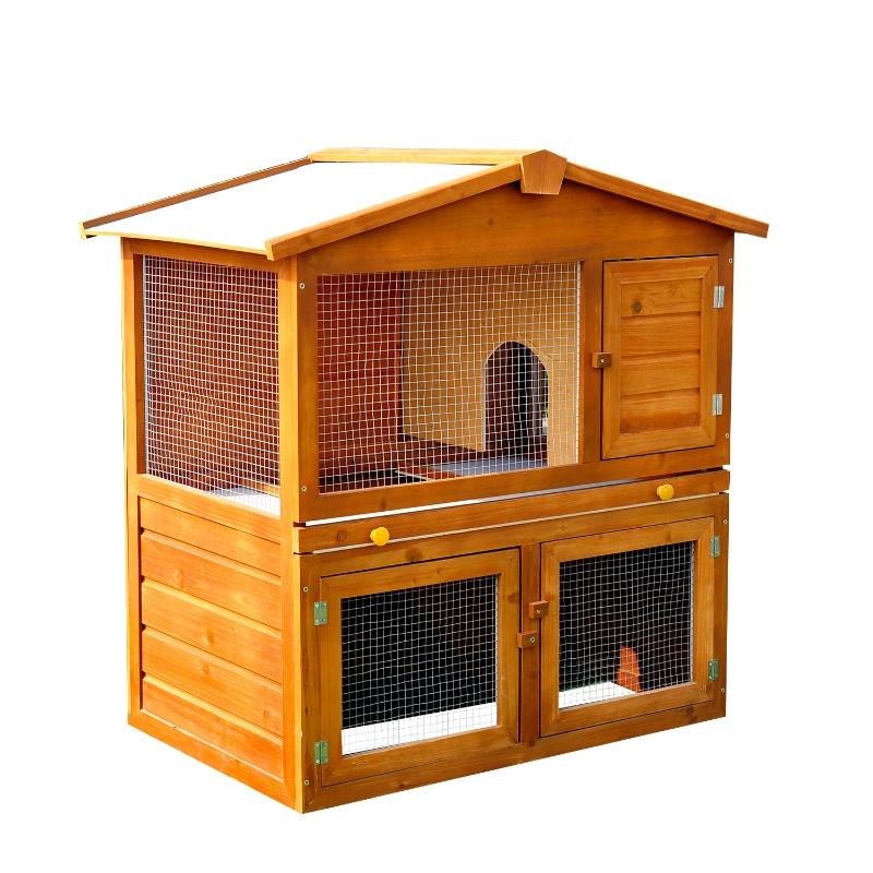 PawHut Wooden Rabbit Hutch House, Size (93.5x55x98 cm)
