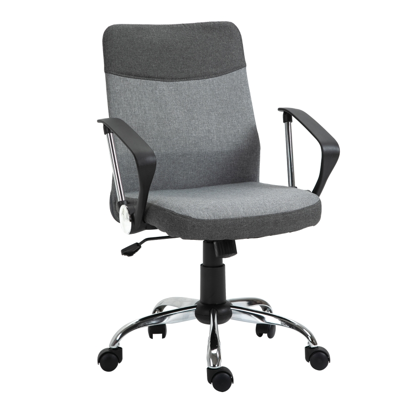 Vinsetto Office Chair Linen Fabric Swivel Desk Chair Home Study Rocker with Wheels, Grey