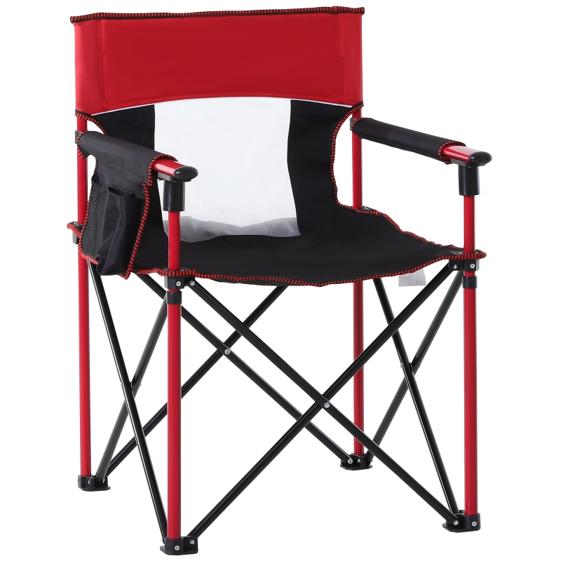 Outsunny Metal Frame Sponge Padded Folding Camping Chair w/ Pockets Red